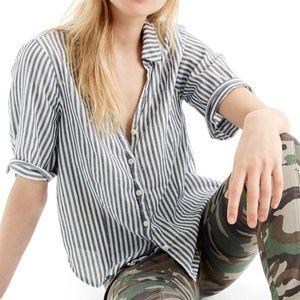J.Crew Short Sleeves Button-up Shirt Cotton Stripe